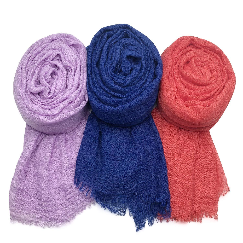 MANSHU Women Soft Cotton Hemp Scarf Shawl Long Scarves Scarf, 3PCS by MANSHU