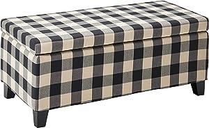 Christopher Knight Home 300775 Brianna Black & White Checker Fabric Storage Ottoman, Black Checkerboard