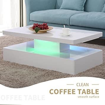 Suncoo Led Beleuchtung Couchtisch Weiß Hochglanz Wohnzimmer Amazon