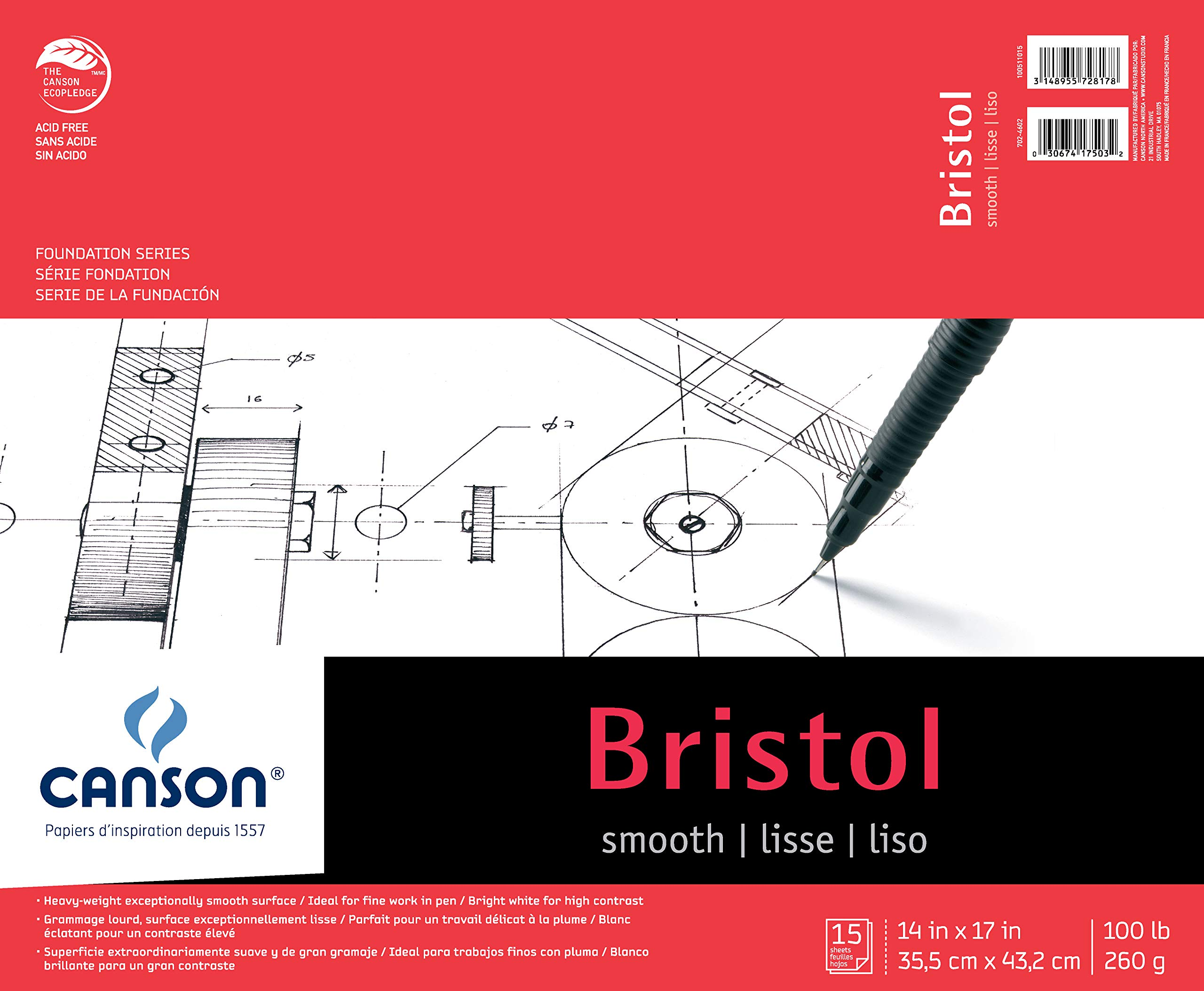Canson Foundation Series Bristol Paper Pad, Heavyweight Paper for Pen, Smooth Finish, Fold Over, 100 Pound, 14 x 17 Inch, Bright White, 15 Sheets by Canson