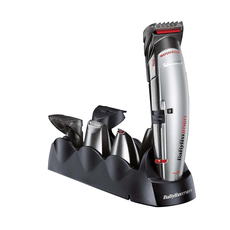 BaByliss Multigroom 8 en 1 E835E - Cortapelos multifunción cabello y barba, cabezal de afeitado hombre, cabezal para nariz y orejas, cuchilla de precisión, 40 min autonomía