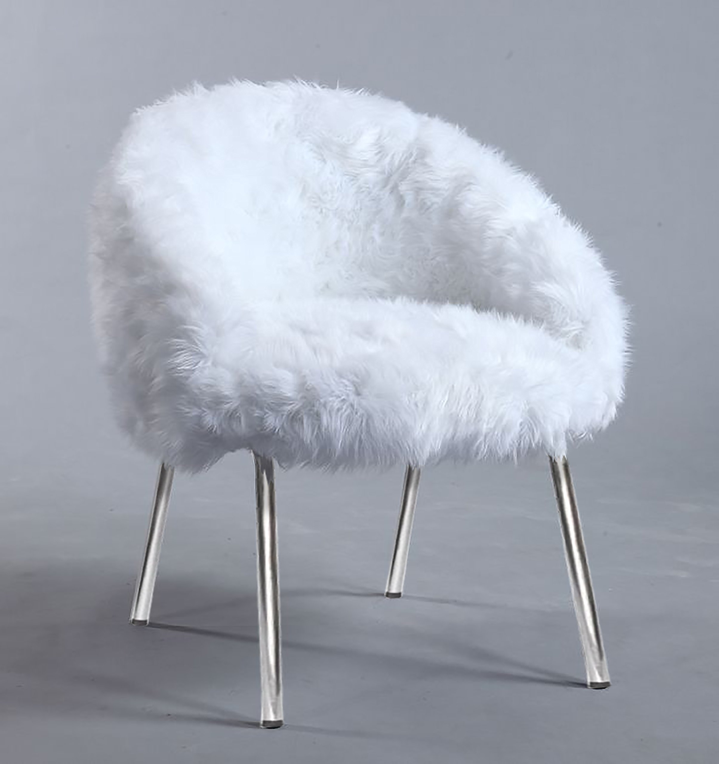 Furniture World Polly Faux Fur Accent Chair, White