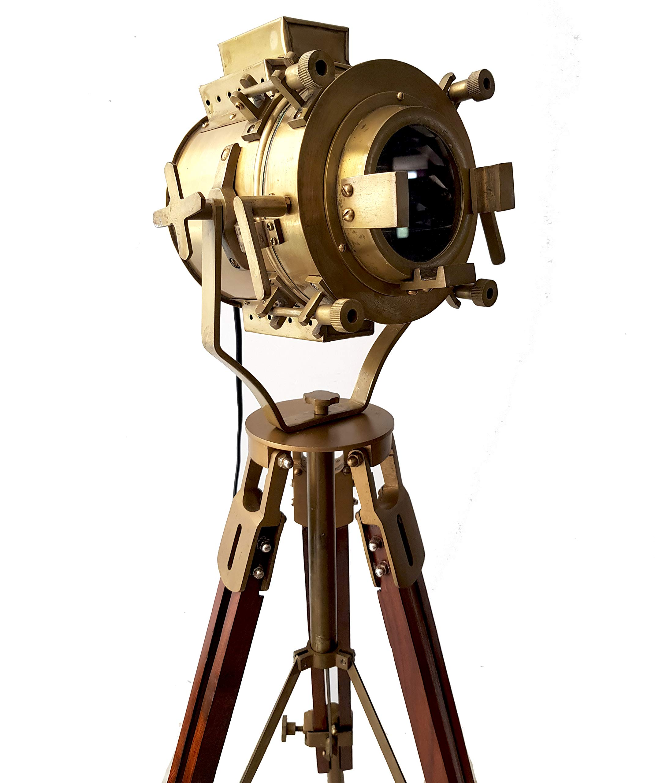 Vintage Antique Hollywood Theater Marine Searchlight Nautical Wooden Brown Tripod Handmade Brass Floor Lamp Retro Spotlight - Home Decoration LED Lamps