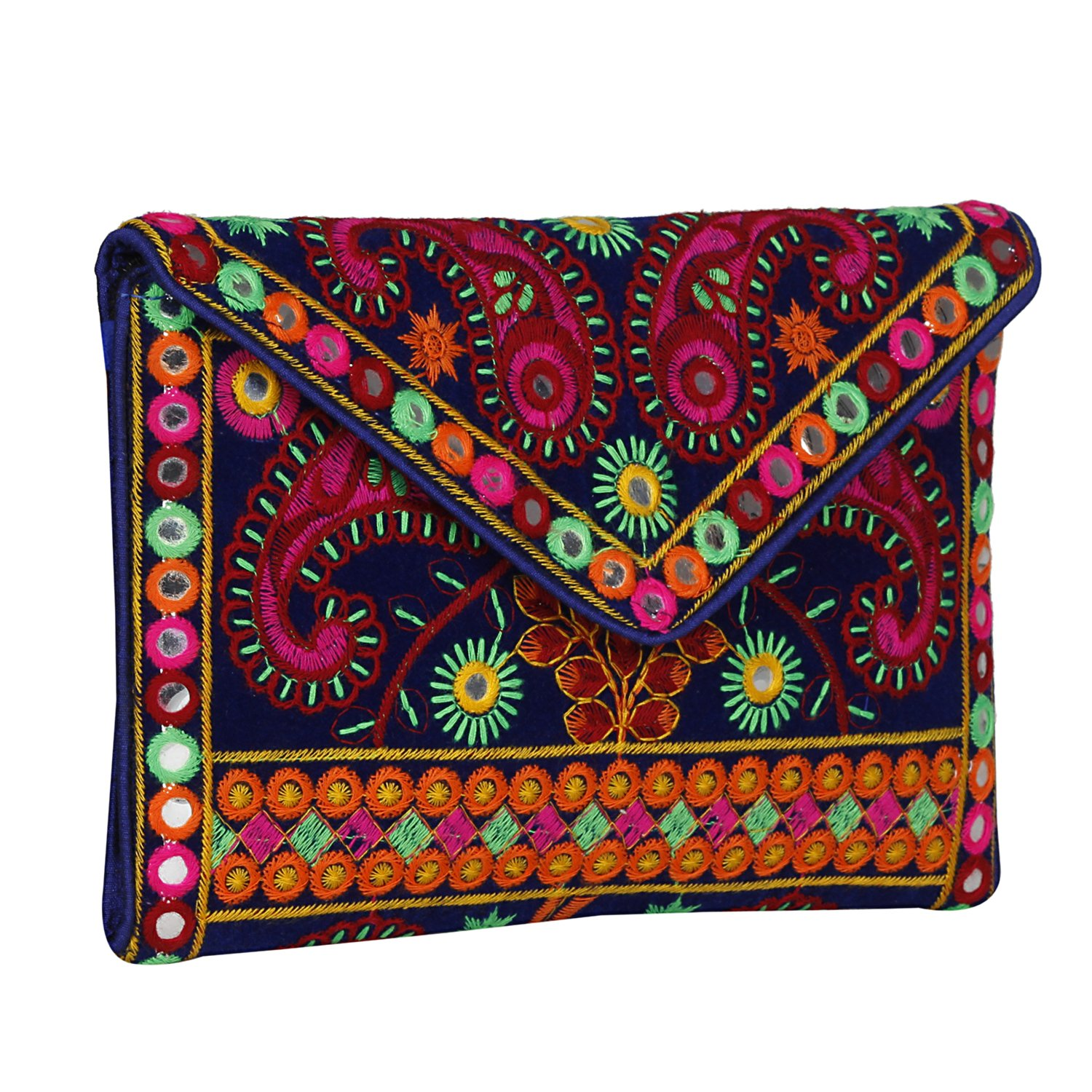 Floral embroidery with Exquisite Handmade Colorful Cotton Thread Embroidery over Blue Velvet