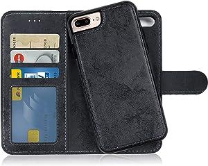 MyGadget Funda Flip Case con Tapa 2 en 1 para Apple iPhone 7 Plus / 8 Plus en Cuero PU - Carcasa Cerrada con Soporte - Cubierta Magnética Separable - Negro