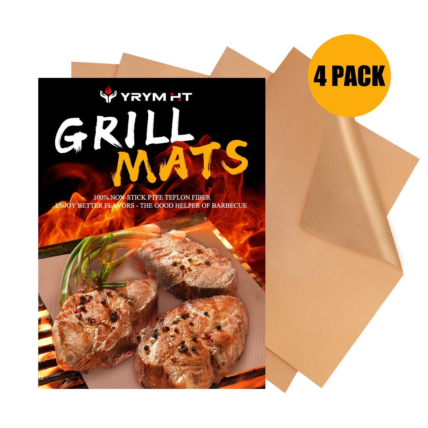 YRYM HT Copper Grill Mats -Set of 4 Non Stick Heavy Duty Grill Mats-Reusable and Easy to Clean Barbecue Grilling Mats by YRYM HT