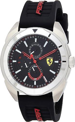 Amazon Com Scuderia Ferrari Men S Forza Stainless Steel Quartz Watch With Silicone Strap Black 22 Model 0830546 Watches