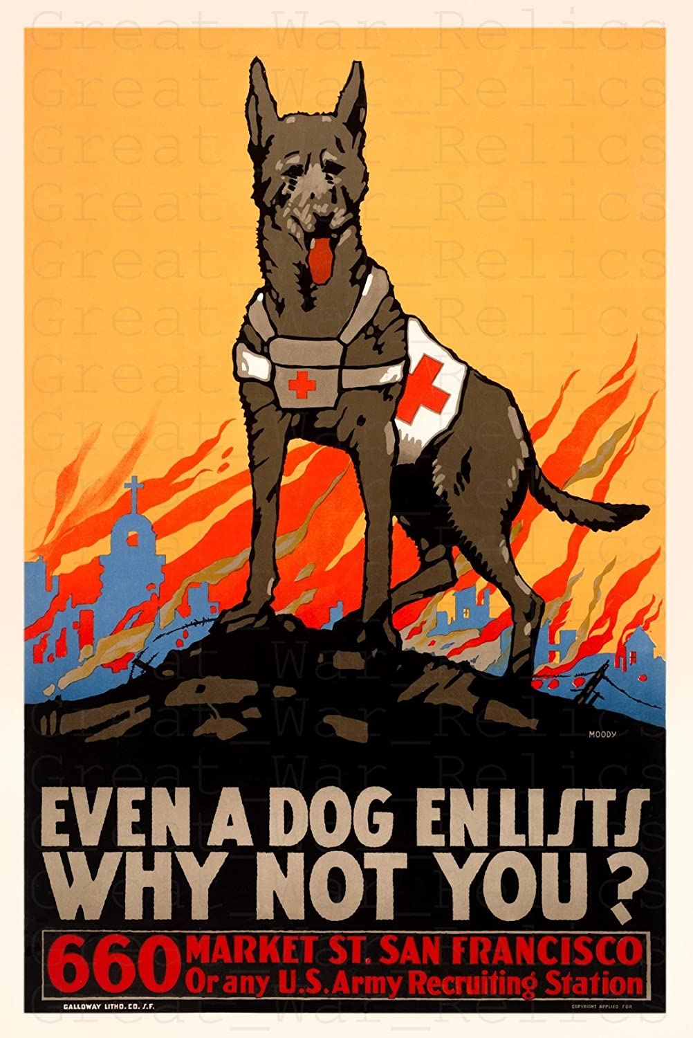 "WW1 American Propaganda Poster, Size 11.7x16.5 inches - ""EVEN A DOG ENLISTS WHY NOT YOU?""- Vintage San Francisco Art Prints Reproduction - WWI Vintage San Francisco California Recruiting Recruitment"