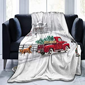 Christmas Throw Blanket Dog And Vintage Red Truck Fuzzy Soft Flannel Throw Blanket For Kid Adults 50x40Inch Warm Cozy Lightweight Plush Blanket For Couch Bed Living Room Christmas Decor All Seasons