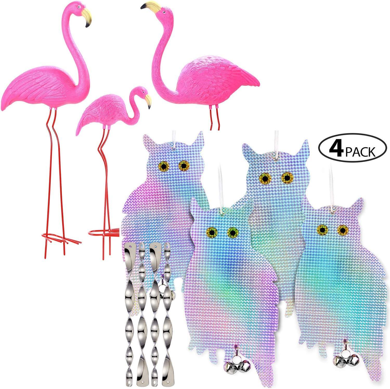 Ohuhu Family Flamingo Yard Ornaments & 4-Pack Owl-Shaped Reflectors
