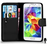 Premium Leather BLACK Wallet Flip Case FOR Samsung Galaxy S5 Case Cover with Retractable Touch Stylus Pen Screen Protector & Polishing Cloth Black Cap, (WALLET BLACK)