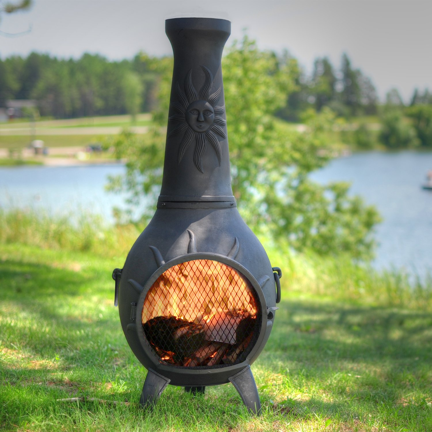 The Blue Rooster Co. Sun Stack Style Cast Aluminum Wood Burning Chiminea in Charcoal.