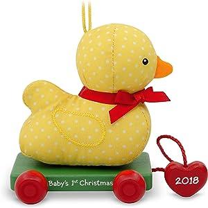 Hallmark Keepsake Christmas Ornament 2018 Year Dated, Baby's First Christmas, Fabric and Wood