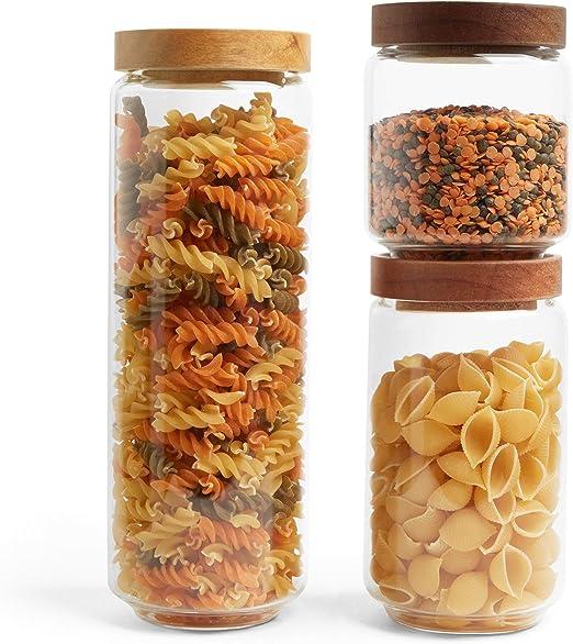 despensa y utilidad VonShef Juego de 3 tarros de cristal transparente organizador de alimentos apilable para cocina