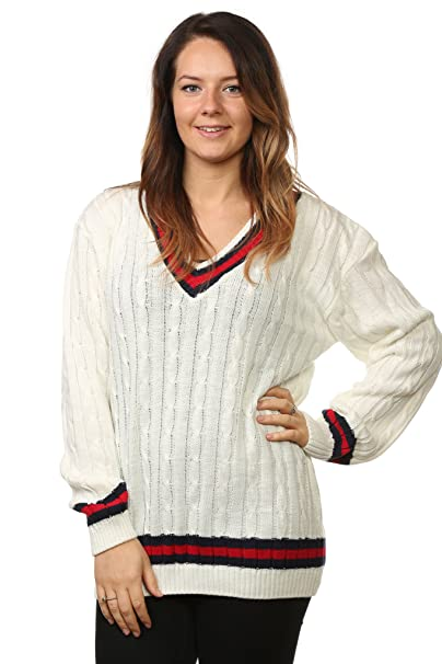 3221a8980 Women Plus Sizes Cable Knitted Cricket Jumpers V Neck Acrylic   Amazon.co.uk  Clothing