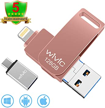 USB Flash Drive Memory Stick 128 GB For iPhone iPod IOS Android PC Laptop GOLD