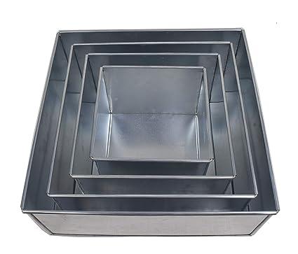 EURO TINS molde Cuadrado para tarta de boda de 4 pisos - 13 cm de profundidad