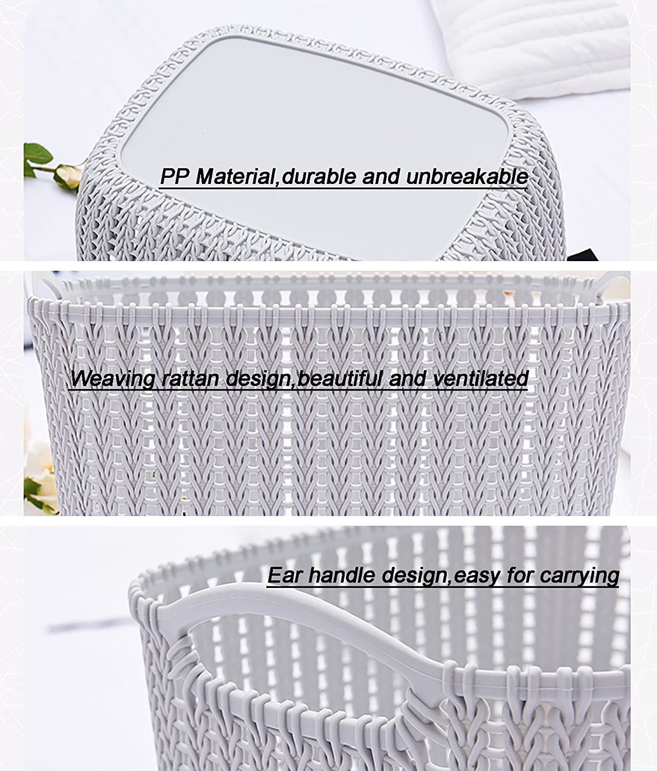 Amazon.com: Weaving Rattan Plastic Storage Baskets/Bins Organizer ...