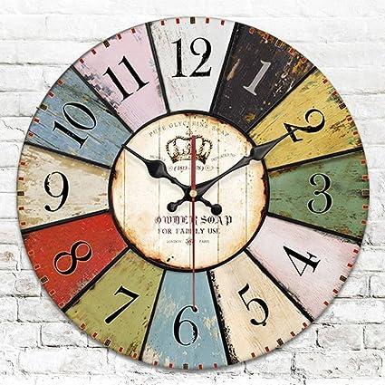ZEKRBY Personalidad Minimalista Retro Dos Lados Reloj De Pared Hierro Forjado Romano Digital Reloj Inglaterra Industrial