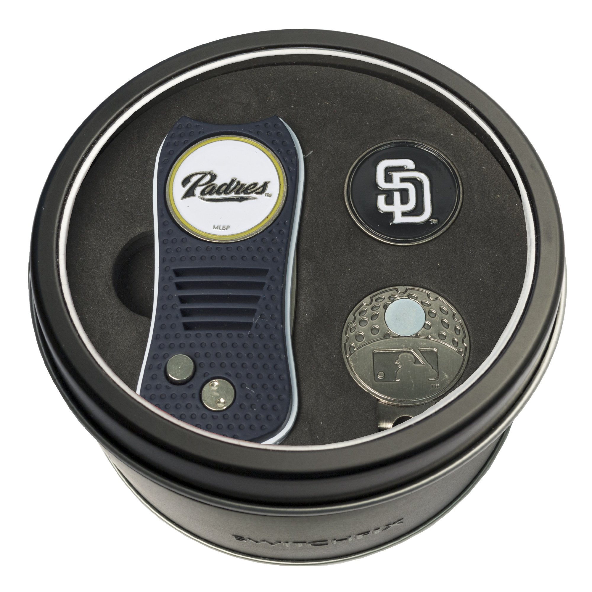 Team Golf MLB San Diego Padres Gift Set Switchblade Divot Tool, Cap Clip, & 2 Double-Sided Enamel Ball Markers, Patented Design, Less Damage to Greens, Switchblade Mechanism by Team Golf