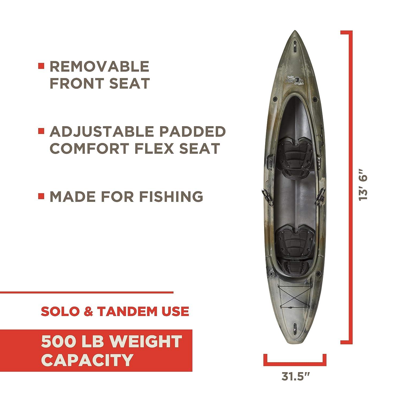 Amazon com : Old Town Twin Heron Angler Tandem Kayak, Brown