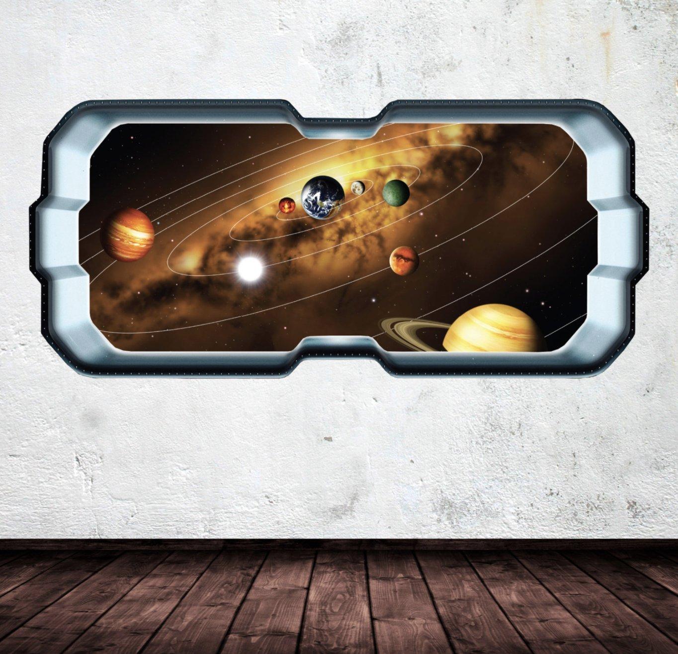Space Rocket Shuttle Battle Window Planet Wall Art Sticker Decal Bedroom WSD272