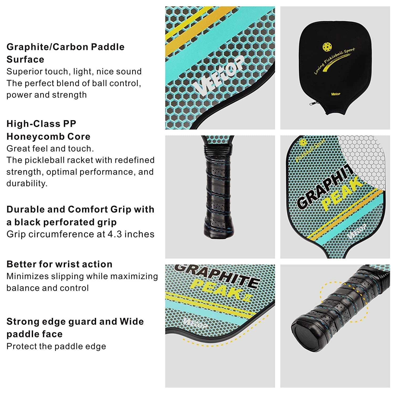 Amazon.com: Ligero Pickleball de grafito raqueta de Squash ...