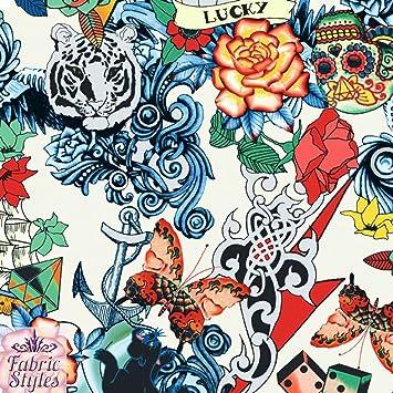 FS117 _ 2 Vintage Retro de tatuaje marfil tarjetas de calavera Ace Love impresión sobre elástico