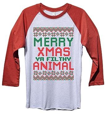 """39725b070 Funny Christmas Baseball Tee """"Merry Xmas Ya Filthy Animal"""" Baseball T-Shirt  Gift"""