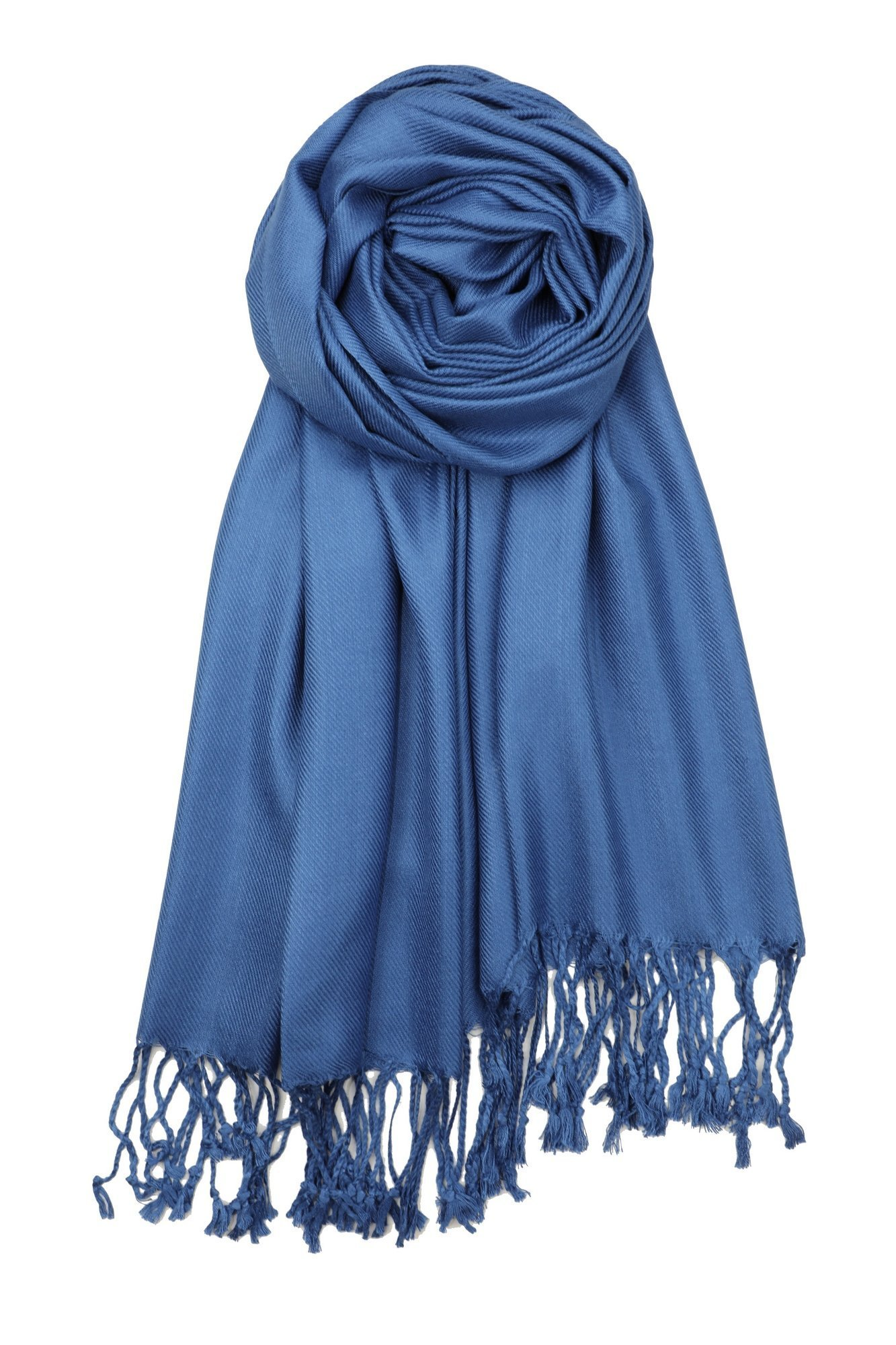 Achillea Large Soft Silky Pashmina Shawl Wrap Scarf in Solid Colors (Cobalt Blue)