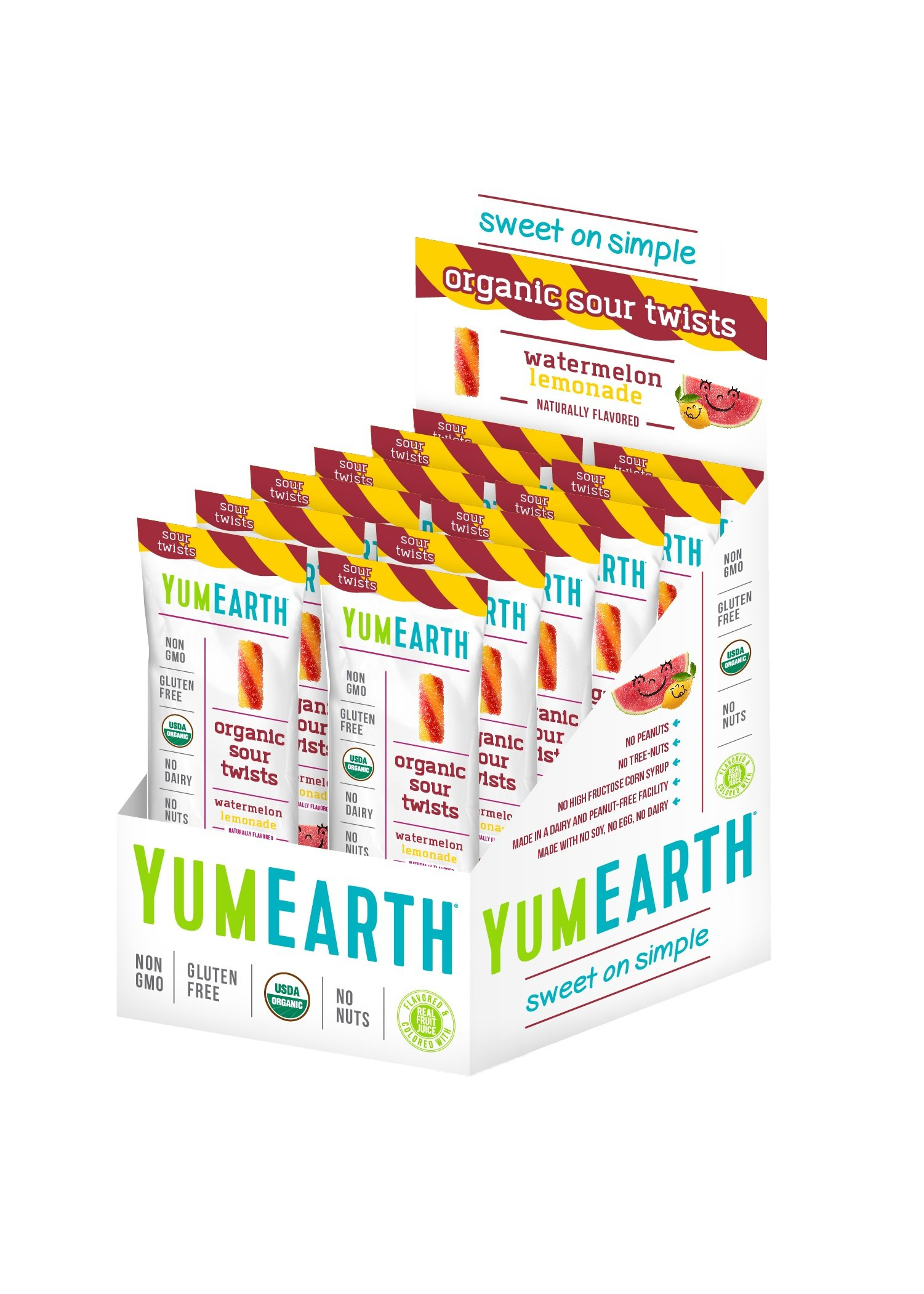 YumEarth Organic Gluten Free Sour Twists, Watermelon Lemonade, 12 Count