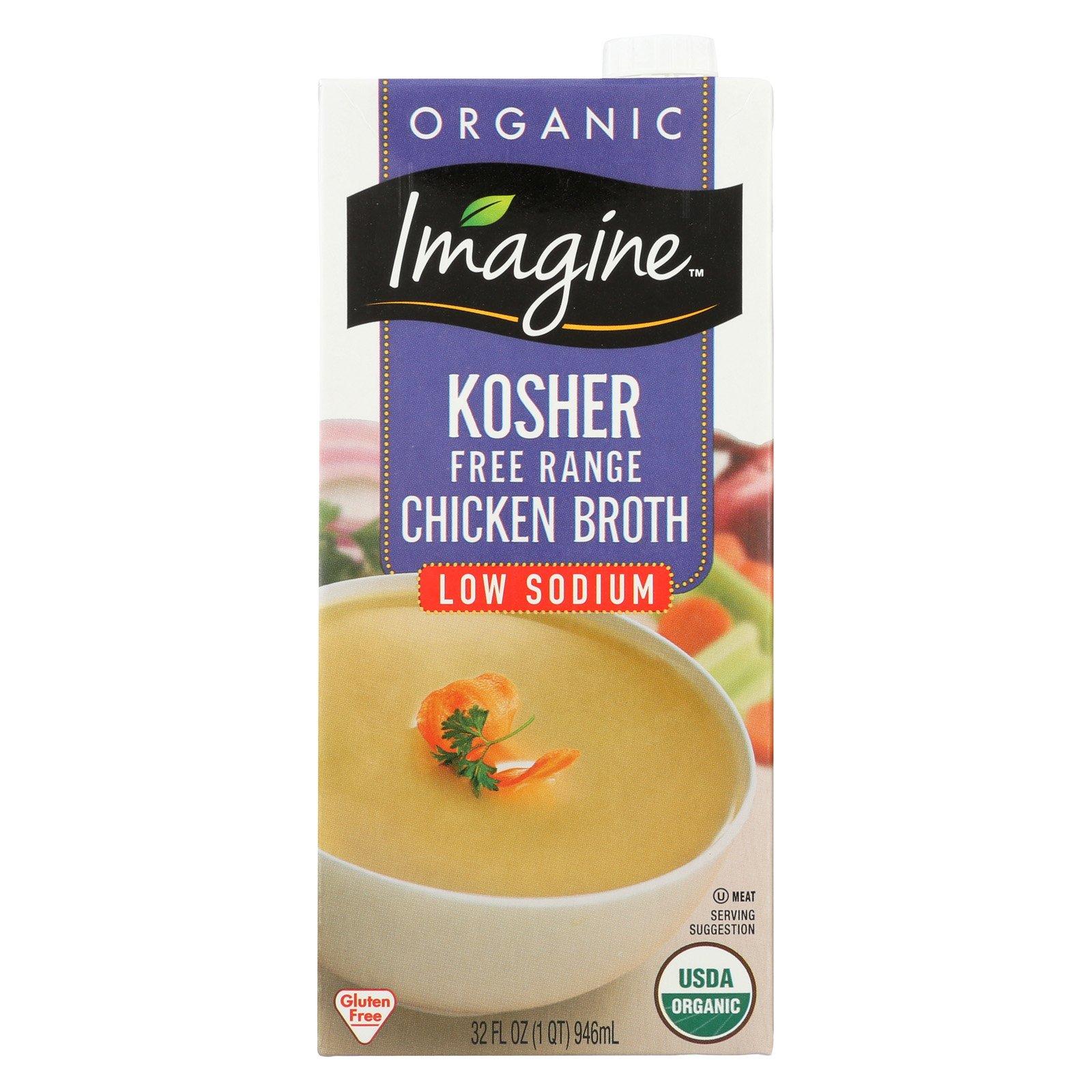 Imagine Foods Chicken Broth - Kosher Free - Case of 12 - 32 Fl oz.