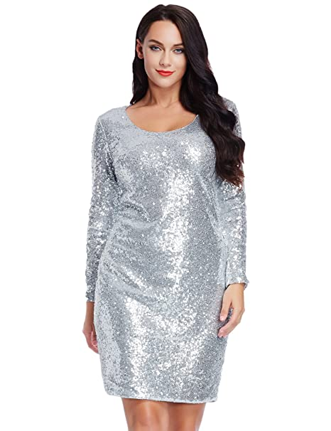Amazon.com: LookbookStore Women\'s Plus Size Silver Sequin ...
