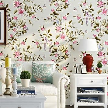 Blumen Und Vögel Tapete Schlafzimmer Schlafzimmer Wohnzimmer Wand Retro  Tapete Gelb Vlies,Beige