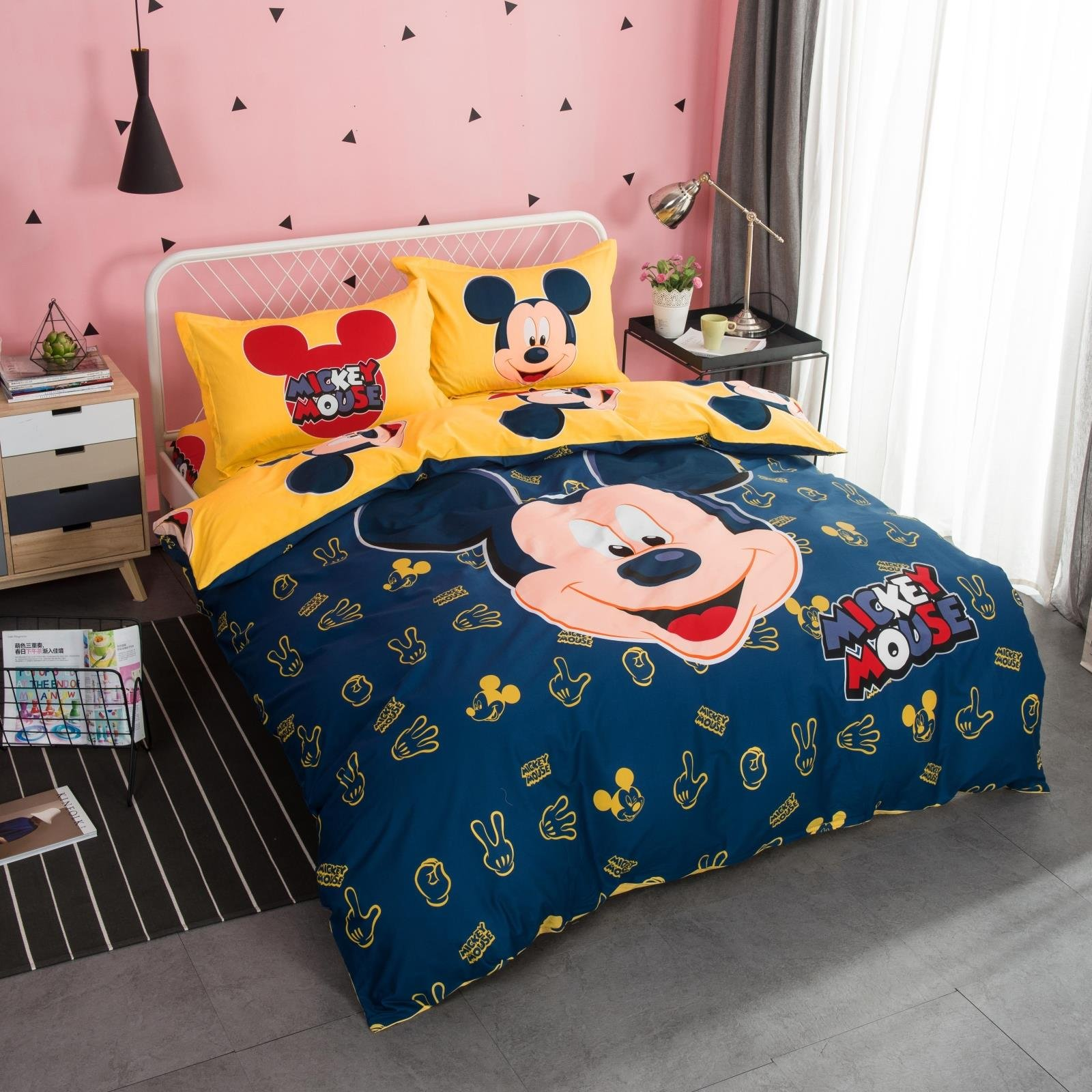 CASA 100% Cotton Kids Bedding Set Boys Mickey Series Mickey Duvet cover and Pillow cases and Flat sheet,4 Pieces,King