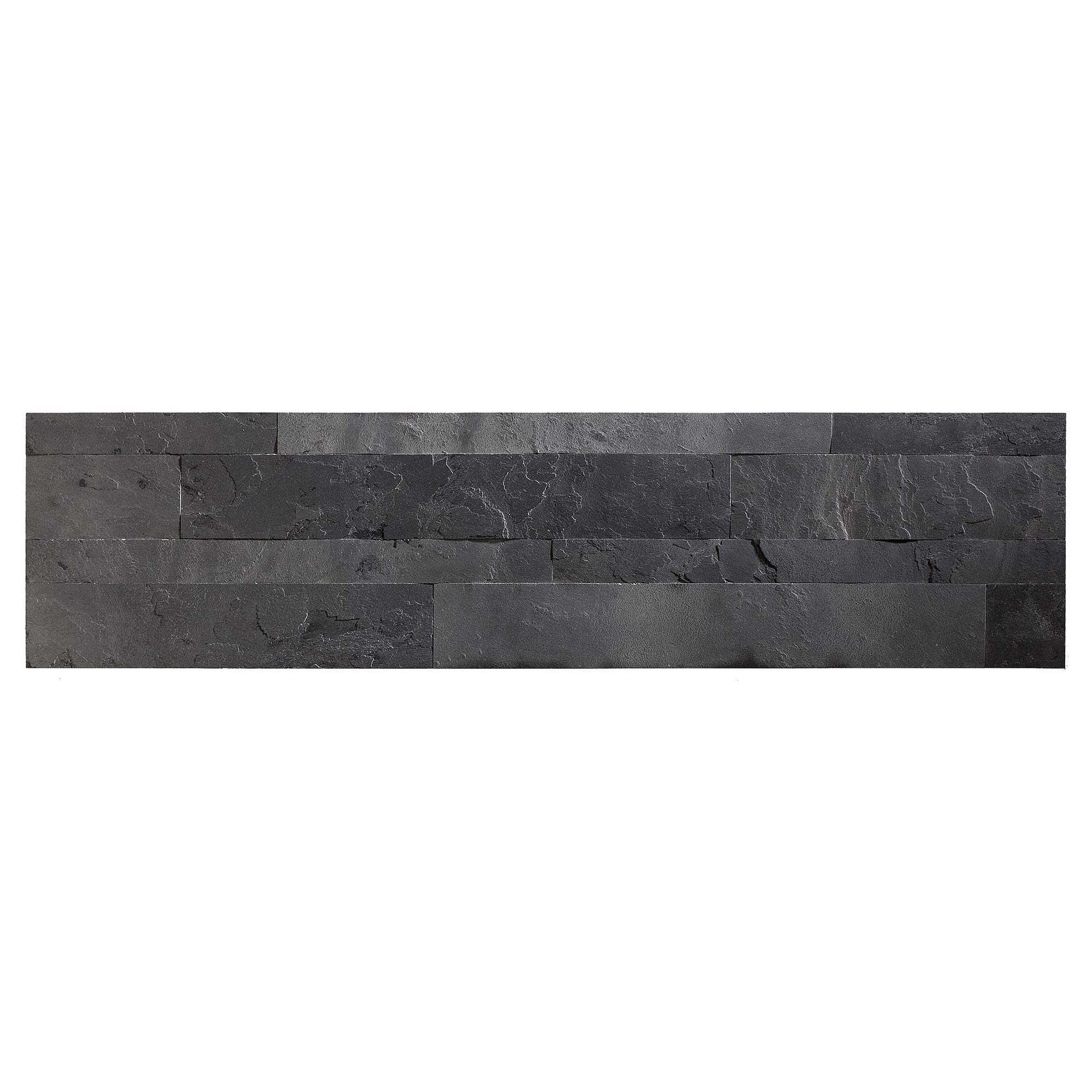 Aspect Peel and Stick Stone Overlay Kitchen Backsplash - Charcoal Slate (5.9'' x 23.6'' x 1/8'' Panel - Approx. 1 sq ft) - Easy DIY Tile Backsplash by Aspect