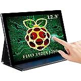 EVICIV 12.3'' Raspberry Pi Touchscreen, FHD 1920x1280, Mini Portable Monitor with Type-C, Mini HDMI, Ultra-Wide IPS 178°Multi