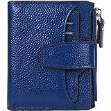 AINIMOER Women's RFID Blocking Leather Small Compact Bi-fold Zipper Pocket Wallet Card Case Purse with id Window (Lichee Blue)