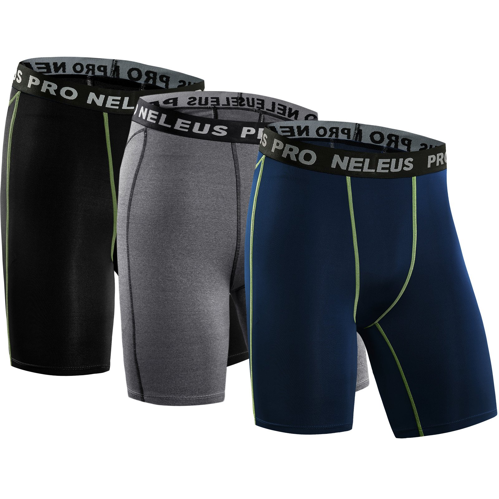 Neleus Men's 3 Pack Compression Short,047,Black,Grey,Navy Blue,US S,EU M