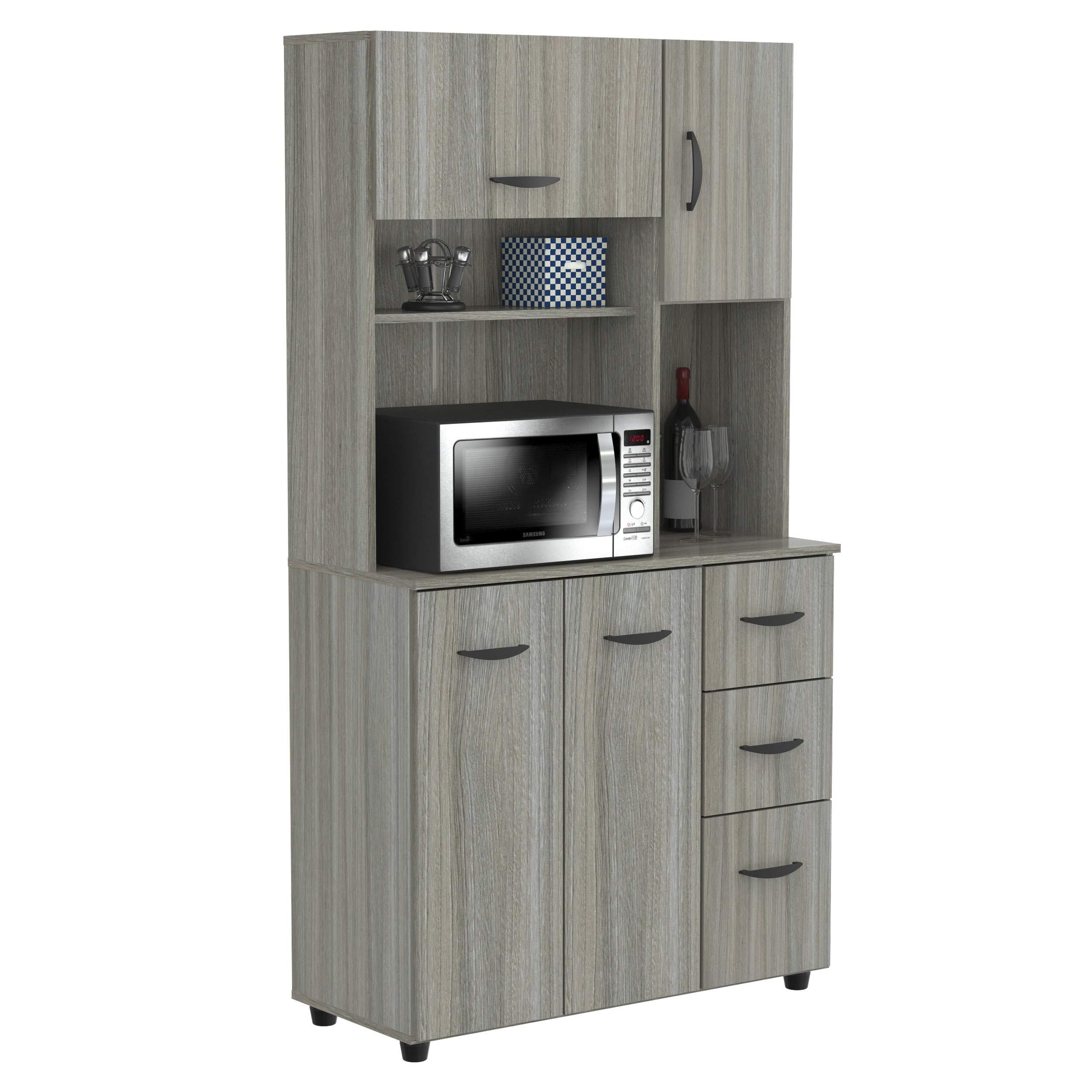 Inval GCM-063 Kitchen Microwave/Storage Cabinet, Smoke Oak by Inval