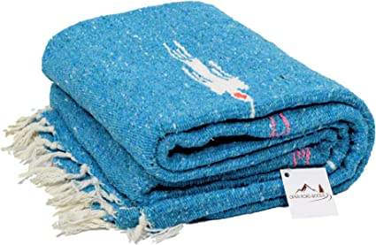 Pale Teal Thunderbird Heavyweight Yoga Blanket- Sky Blue Hand-made Mexican Blanket Made for Yoga