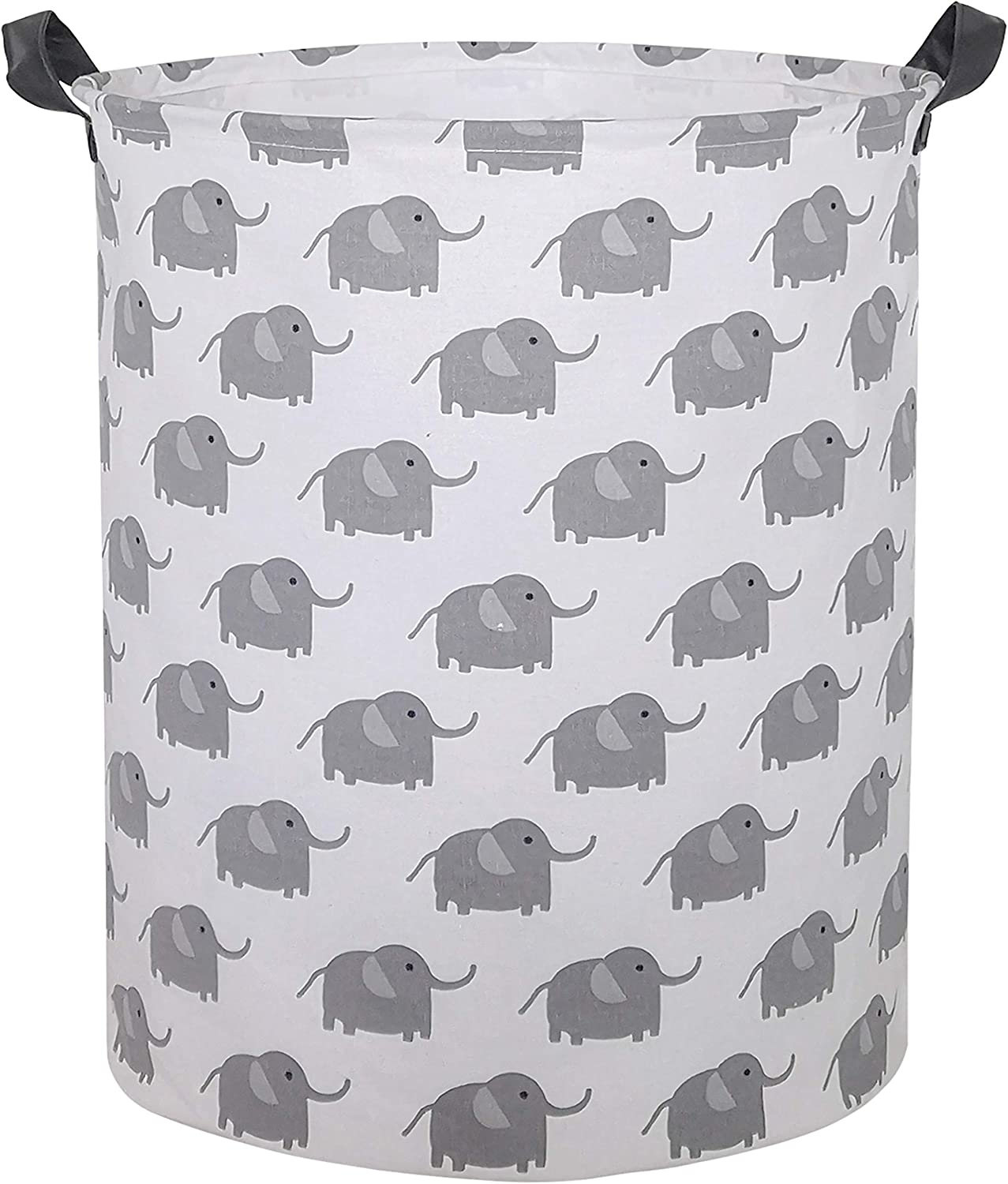 CLOCOR Large Storage Basket,Canvas Fabric Waterproof Storage Bin Collapsible Laundry Hamper for Home,Kids,Toy Organizer (Cute Elephant)