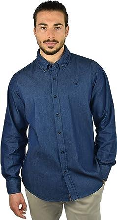 1st American amisa de Mezclilla Hombre - Camisa Jeans de Manga Larga 100% Algodon Stone Wash - Colore Azul Oscuro: Amazon.es: Ropa y accesorios