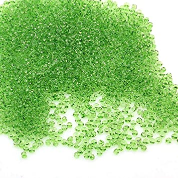 G - env 30 g Perles De Verre-Rocaille-vert clair 2 mm