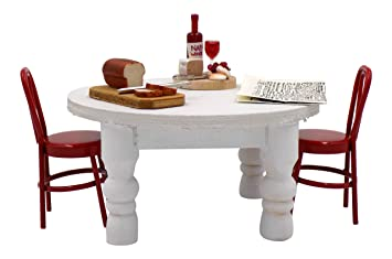miniature doll furniture. miniature dollhouse furniture round table, 2 timeless minis miniatures chair, bread board, wine doll