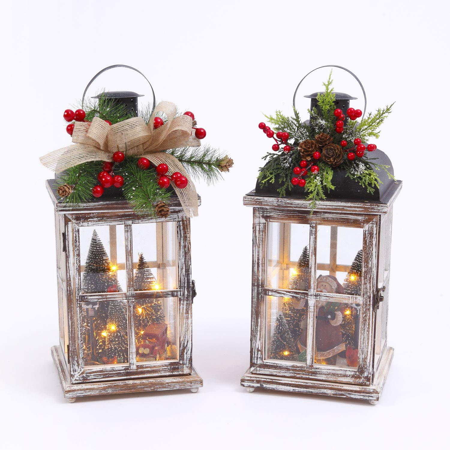 Gerson Battery Operated Lighted Wood Lantern with Christmas Scene (Set of 2) Santa and Red Truck with Christmas Trees