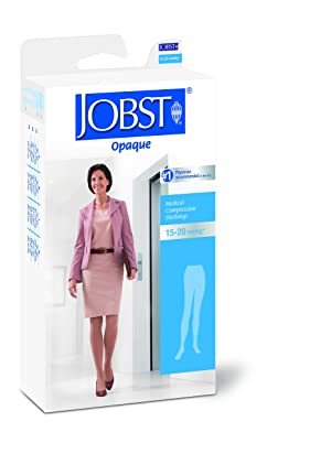 JOBST Opaque Waist High 15-20 mmHg Compression Stockings Pantyhose, Closed Toe, Medium, Natural (Color: Natural, Tamaño: Medium)