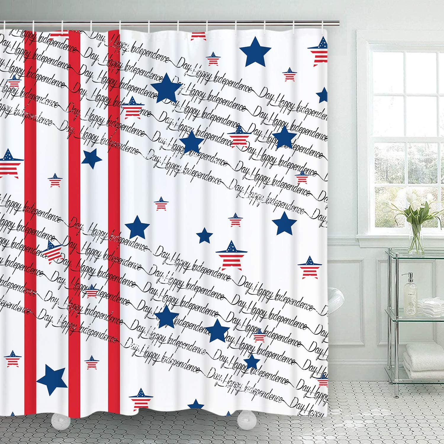 Fourth of July Independence Day Shower Curtain Waterproof Fabric w//12 Hook new