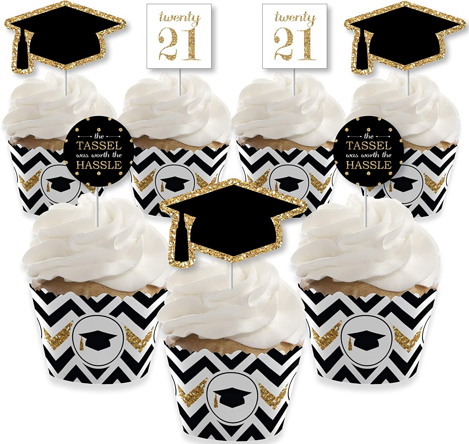 Big Dot of Happiness Gold - Tassel Worth The Hassle - Cupcake Decoration - 2021 Graduation Party Cupcake Wrappers and Treat Picks Kit - Set of 24