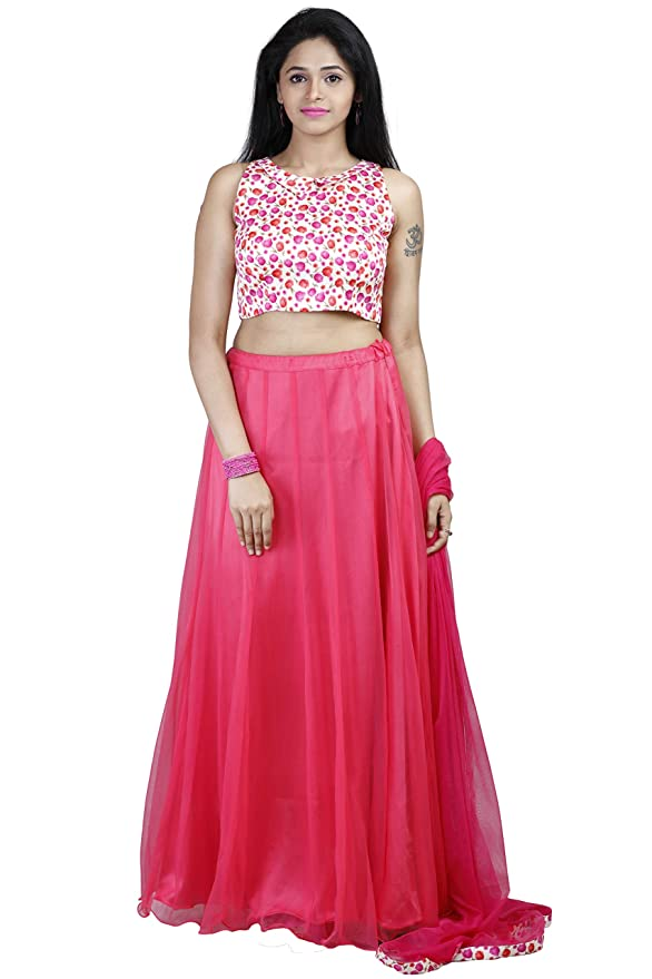 fb0674ba0 Designer Trendy Party wear Lehenga with crop top pink and white for women:  Amazon.in: Clothing & Accessories
